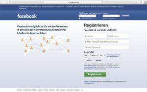 Wenn Sie noch kein eigenes Facebook-Konto haben, können Sie sich gleich auf der Startseite registrieren.
