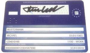 Die Rückseite der ecard gilt in vielen Ländern Europas als EKVK.